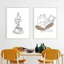 Tasse à café imprime livre fin dessin au trait