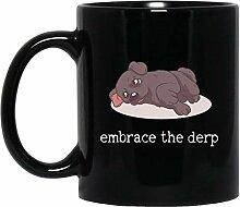 Tasse à café noire avec inscription « Embrace