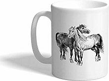 Tasse à café personnalisée 11 onces chevaux