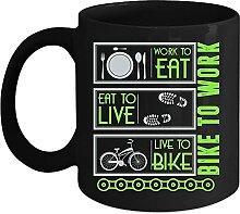 Tasse à café « Work to Eat to Live to Bike » -