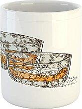 Tasse à glaçons, 2 verres de whisky dessinés à