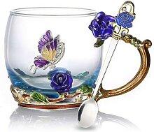 Tasse à thé en cristal émail Rose bleu, tasse