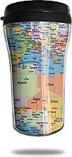 Tasse de café de voyage de carte du monde de