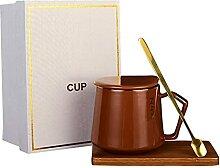 Tasse en Céramique avec Couvercle, Cuillère,