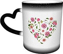 Tasse en céramique coeur fait de belles fleurs