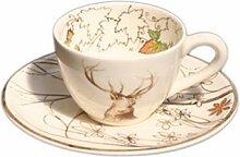 Tasse et soucoupe à café Chambord faïence