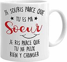 Tasse Mug Cadeau Soeur Anniversaire - Je Souris Je