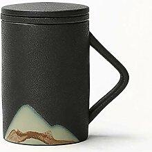 Tasses à café avec couvercle en céramique pour