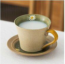 Tasses à café peintes à la main, motif floral,