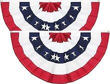 TBoxBo Lot de 2 drapeaux américains plissés avec