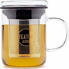 TEATOX Glass Tea Mug, tasse avec couvercle en