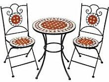 TECTAKE 1 Table de Jardin et 2 Chaises Pliables