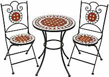 Tectake - 1 Table de Jardin et 2 Chaises Pliables