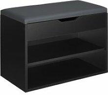 Tectake banc à chaussures jasmina - noir 403615
