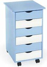 Tectake caisson de bureau en bois - bleu 400925