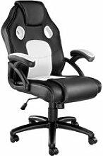 Tectake chaise gamer mike - noir/blanc 403459