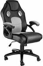 Tectake chaise gamer mike - noir/gris 403454