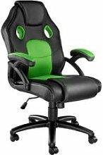 Tectake chaise gamer mike - noir/vert 403455