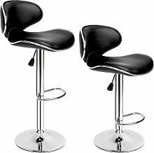Tectake - Lot de 2 Chaises de Bar Design Dossier