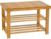 Tectake meuble à chaussures bambou 2 niveaux