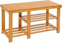 Tectake meuble à chaussures bambou 2 niveaux avec
