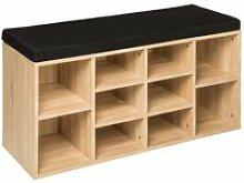 Tectake meuble à chaussures banc - noir/marron
