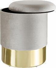 Tectake - Pouf coffre de rangement aspect velours