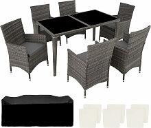 Tectake - Salon de Jardin 6 Places avec 1 Table à