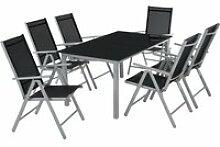 Tectake salon de jardin aluminium 6 places - gris