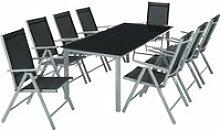 Tectake salon de jardin aluminium 8 places - gris