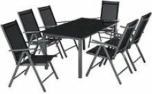 TECTAKE Salon de Jardin avec 6 Chaises Pliantes et