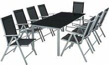TECTAKE Salon de Jardin avec 8 Chaises Pliantes et