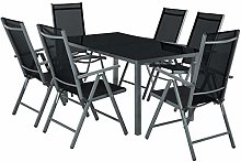 TecTake Salon de Jardin en Aluminium, 6 Chaises et
