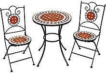 TecTake Salon de Jardin en Mosaïque, 2 Chaises et