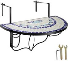 Tectake table de balcon rabattable - blanc/bleu
