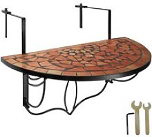 Tectake table de balcon rabattable - marron