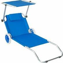 Tectake transat avec roulettes - bleu 402784