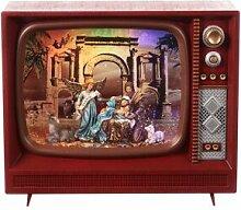 Téléviseur Noël verre Nativité 20x25x10 cm LED