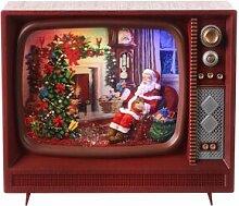 Téléviseur vintage verre neige Père Noël