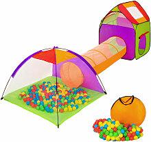 Tente enfant avec Tunnel de jeu + 200 Balles + Sac