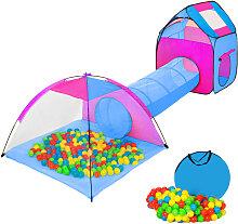 Tente Enfant Tunnel de Jeux + 200 Balles Bleu