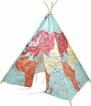 Tente Tipi pour Enfants avec carte du monde en