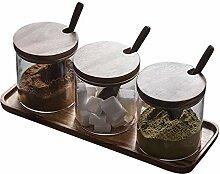 TentHome Pots en Verre à Épices 3 Bocaux en