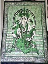 Tenture en coton ou dessus de lit avec Ganesh de