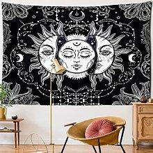 Tenture murale blanche et noire de Mandala, soleil