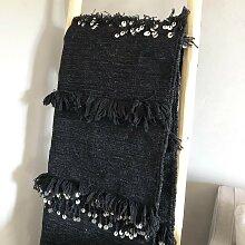 Tenture ou tapis handira Noir avec sequins - Fait