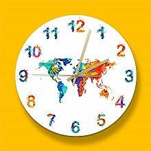 Terre D'Aquarelle De Carte du Monde Horloge