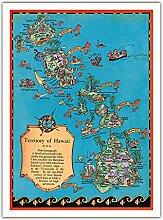 Territoire De Hawaï Carte - Carte colorée de