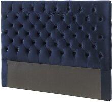 Tête de lit 160 cm AURELE - Velours - Bleu nuit