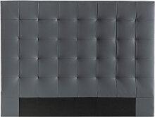 Tête de lit capitonnée gris foncé 160 cm